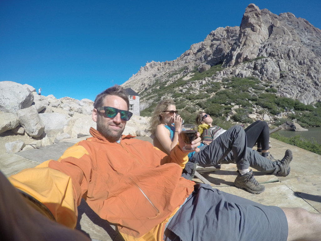 Chilling with friends near Refugio Frey.