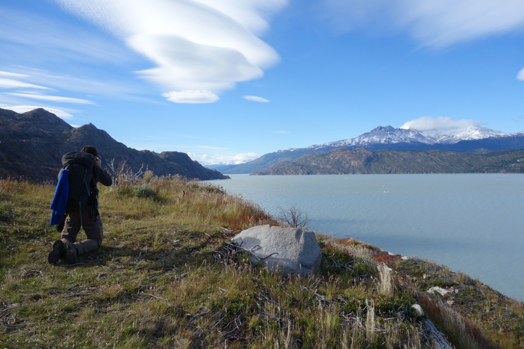 My friend Steve taking a pic of the landscape in Torres del Paine.
